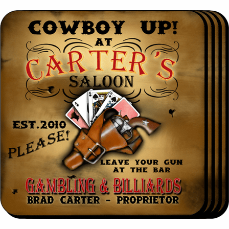 Cowboy Up Coaster Set - Free Personalization