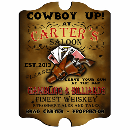 Cowboy Up Vintage Pub Sign - Free Personalization