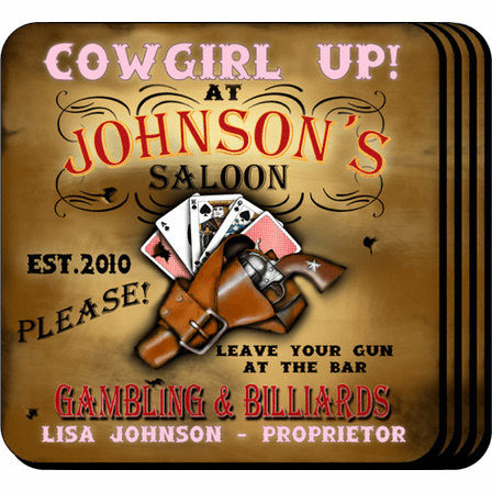 Cowgirl Up Coaster Set - Free Personalization