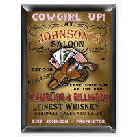 Cowgirl Up Pub Sign - Free Personalization