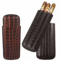 Crocodile Print Leather Three Finger Cigar Case-discontinued
