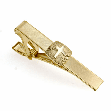 Cross and Sunburst Gold Plated Tie Clip