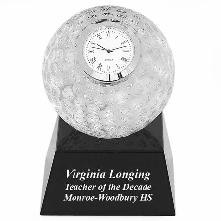 Crystal Golf Ball Clock with Personalized Black Glass Base