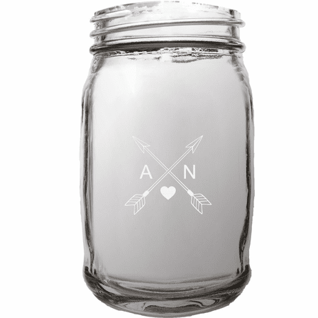 Cupid's Arrows Personalized 16 Ounce Mason Jar