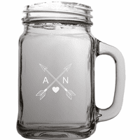 Cupid's Arrows Personalized 22 Ounce Mason Jar