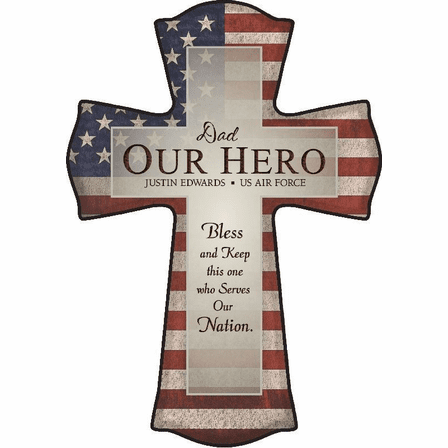 Dad - Our Hero Personalized Cross