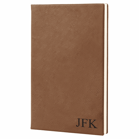 Dark Brown Journal with Black Satin Bookmark with Personalized Initials