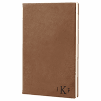 Dark Brown Journal with Black Satin Bookmark with Roman Monogram