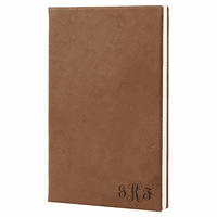 Dark Brown Journal with Black Satin Bookmark with Script Monogram