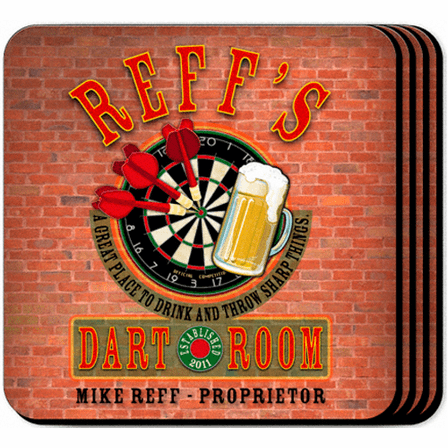 Dart Room Coaster Set - Free Personalization
