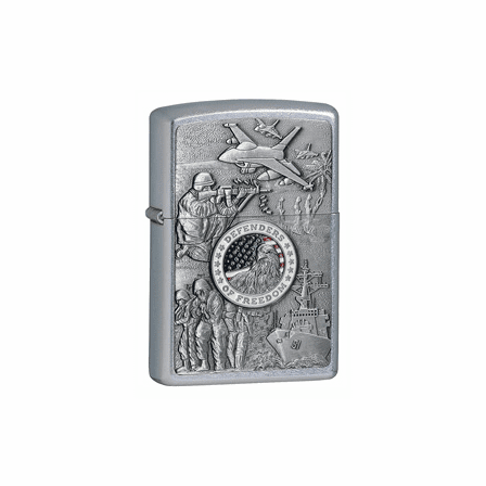 Defenders of Freedom Emblem Street Chrome Zippo Lighter - ID# 24457