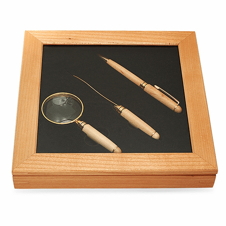 Deluxe Maple Pen, Letter Opener & Magnifier Gift Set - Discontinued