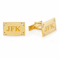 Diamond Framed 14 Karat Gold Engravable Cufflinks - Discontinued