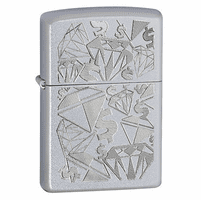 Diamonds & Dollars Satin Chrome Zippo Lighter - ID# 24882 -Discontinued
