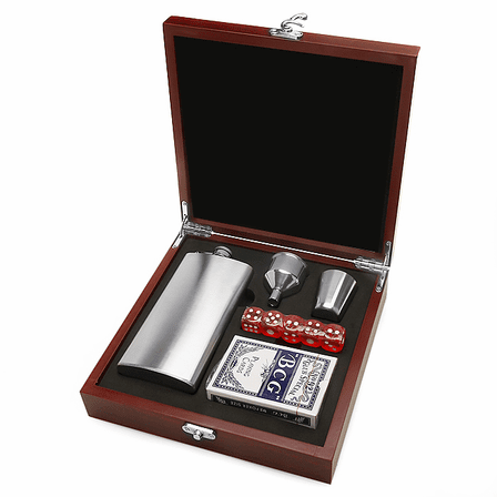 Doctor's Engraved Flask & Gaming Set