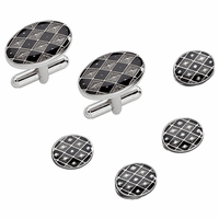 Dolan & Bullock Black & Grey Checkerboard Design Sterling Silver Cufflinks & Studs Set