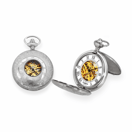 Double Dust Cover Stainless Steel  Mechanical Pocket Watch - Discontinued
