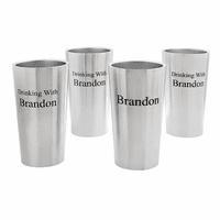"""Drinking With"" 4 Piece Steel Beer Mug Set"