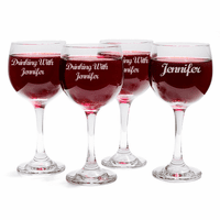 """Drinking With"" Wine Glass Set of 4"