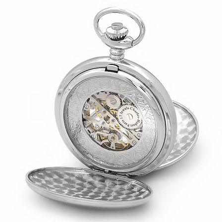 Dual Opening Silver Charles Hubert Pocket Watch & Chain #3575-W