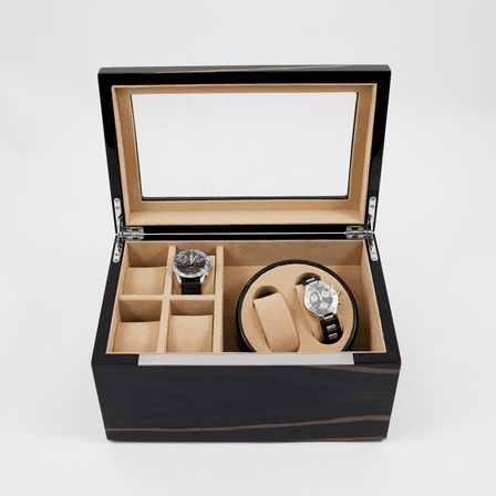 Ebony Burl Wood Two Watch Winder