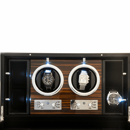 Ebony Burl Wood Two Watch Winder With Glass Face