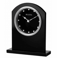 Ebony Glass Desktop Clock By Bulova