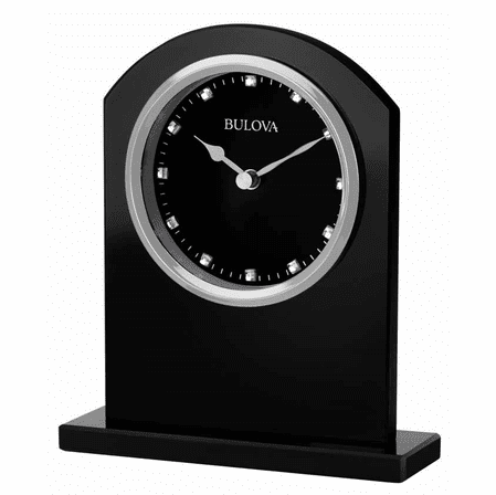 Ebony Glass Desktop Clock By Bulova Executive Gift Shoppe