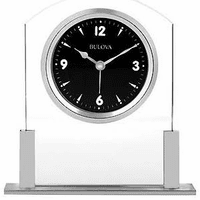 Ebony Glass Desktop Clock By Bulova - Discontinued