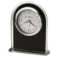 Ebony Luster Black Glass Alarm Clock by Howard Miller