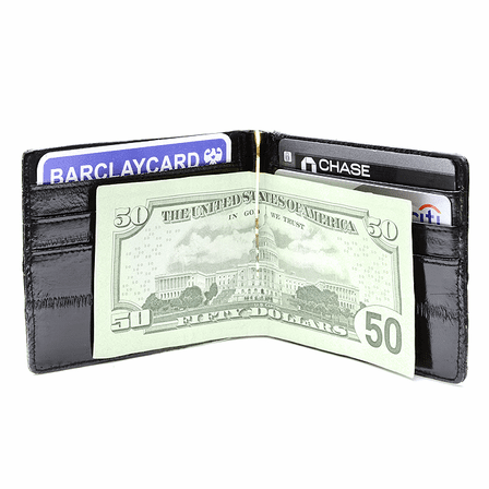 Eel Skin Collection Bifold Credit Card Wallet with Money Clip