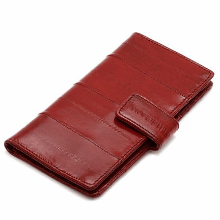 Eel Skin Collection Snap Closing Credit Card Wallet