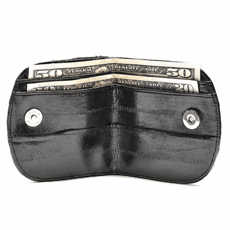 Eel Skin Collection Snap Closing Travel Wallet with Change Pouch