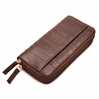 Eel Skin Collection Zipper Closing Checkbook Wallet & Organizer - Discontinued