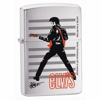 Elvis Brushed Chrome Zippo Lighter - ID# 24474 - Discontinued