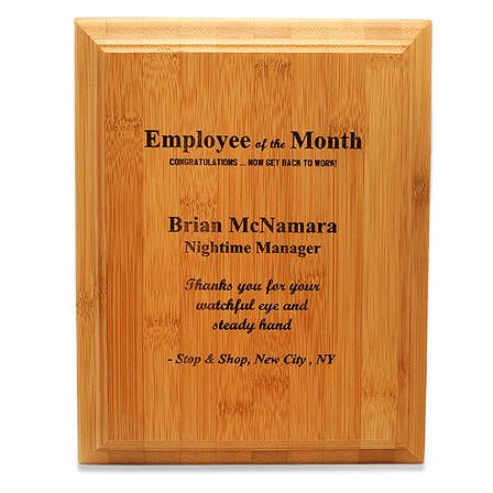 Employee Of The Month Bamboo Wall Plaque
