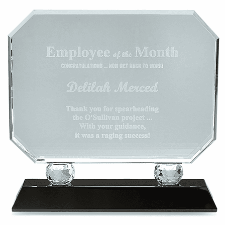 Employee Of The Month Crystal Award With Black Base