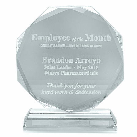 Employee Of The Month Crystal Octagon Award