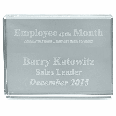 Employee Of The Month Crystal Paperweight