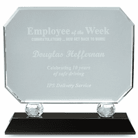 Employee Of The Week Crystal Award With Black Base