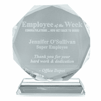 Employee Of The Week Crystal Octagon Award