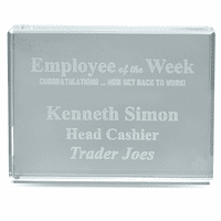 Employee Of The Week Crystal Paperweight