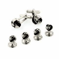 Enamel knot cufflinks and shirt studs formal set