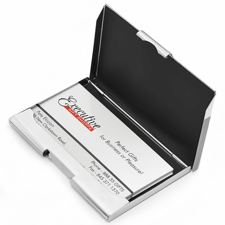 Engine Turned Business Card Holder with Engraved Round Plate
