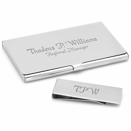 Engraved Business Card Holder Money Clip Gift Set