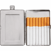 Engraved Flask & Cigarette Case