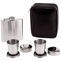 Engraved Flask with Collapsible Shot Cups Set - Discontinued