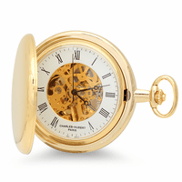 Engraved Gold Mechanical Charles Hubert Pocket Watch & Chain #3576-G