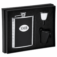 Engraved Leather & Steel Flask Gift Set