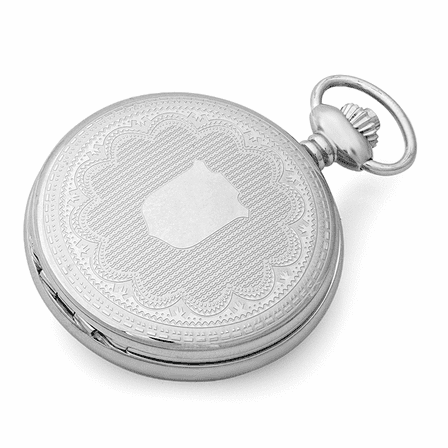 Engraved Quartz Charles Hubert Pocket Watch & Chain #3544